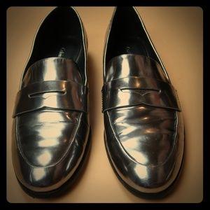 Calvin Klein Metallic Patent Leather Loafers